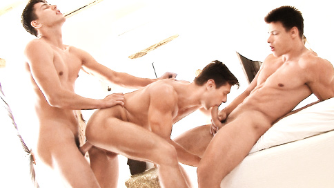 """Muscle and Jock Lovers living in the United States will have extra reasons to be thankful after feasting on this steamy three way featuring Antony Lorca, Rhys Jagger and Andrei Karenin.    This scene will be making its way onto the """"Greek Salad"""" DVD series next year.  There we will combine excerpts from the documentary series and some of the scenes that were filmed during this production.    Happy Thanksgiving all"""