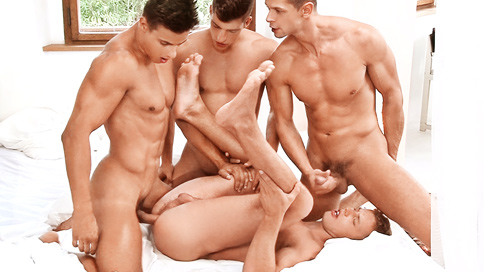 If you have been following our Summer Break series, you will know that it is time for another 2 day scene.  Today it is with Ariel, Steve, Andrei and Rhys.This scene is divided to have the introduction, foreplay and oral in part 1, and then the fucking in part 2, so we start off with the boys messing around by the pond... and what a collection of fabulous bodies we have there, all toned and ripped, the perfect samples of male physique.  Once they have done showing off for one another they all head inside the castle for a bit of privacy and the action begins. In part 2 we find out who the lucky bottom is going to be for this scene...  3 points for anyone who guesses it right!