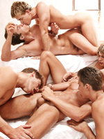 It has been described as the best orgy ever filmed in gay porn, and this set of images shows us the boys and the action perfectly.  During filing the boys had to go through all their action twice, firstly for the cameramen, and then again for the stills photographer. After filming the orgy, the location was actually remodeled and this classical sauna was actually destroyed. The full video of this orgy is coming up in a couple months.